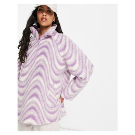ASOS DESIGN half zip fleece with wavy print in purple