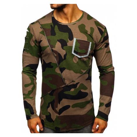 Хакі чоловіча футболка з довгим рукавом з принтом камуфляж Bolf 1090 ATHLETIC