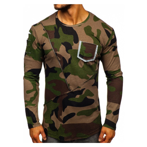 Khaki pánské maskáčové tričko s dlouhým rukávem a potiskem Bolf 1090 ATHLETIC