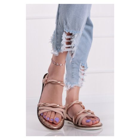 Světle růžové kožené nízké sandály 1-28148 Tamaris