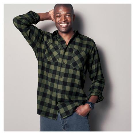 Blancheporte Kostkovaná košile, flanel khaki/černá