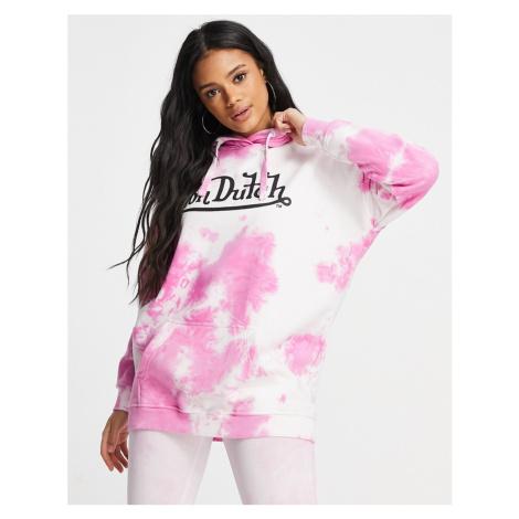 Von Dutch co-ord oversized hoodie in pink tie dye