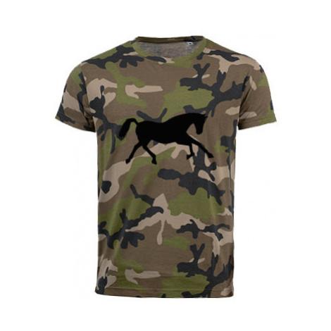 Pánské maskáčové tričko Běžící kůň