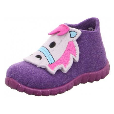 SUPERFIT Pantofle 'HAPPY' tmavě fialová / bílá / světlemodrá / pink
