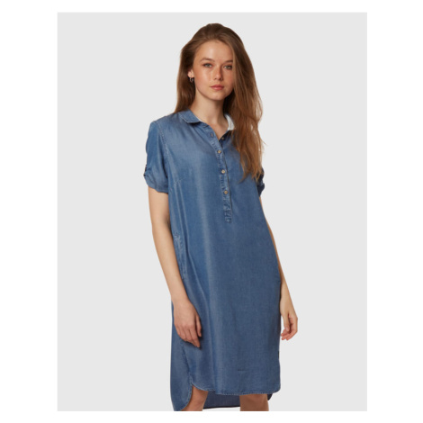 Šaty La Martina Woman Short Dress Denim Tencel - Modrá