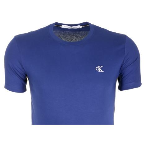 Pánské modré tričko s malým vyšitým logem Calvin Klein