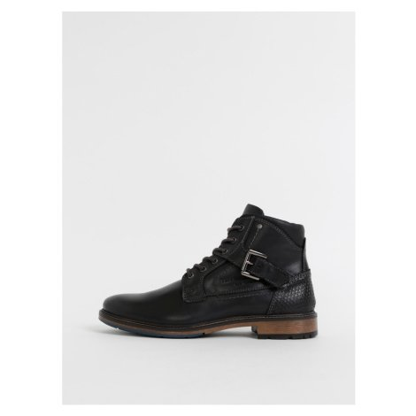 Černé pánské kožené kotníkové boty Tom Tailor