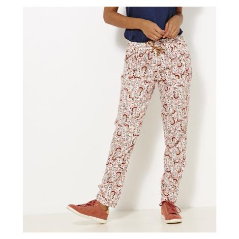 Světle růžové květované kalhoty CAMAIEU Camaïeu