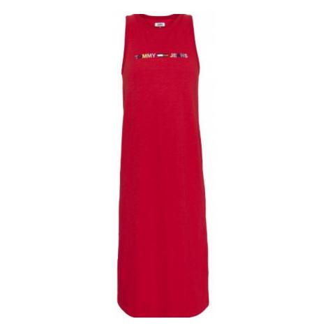 Tommy Hilfiger Tommy Jeans dámské červené šaty TJW LOGO TANK DRESS