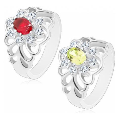 Lesklý prsten s vyřezávanými rameny, broušený oválný zirkon s čirou obrubou