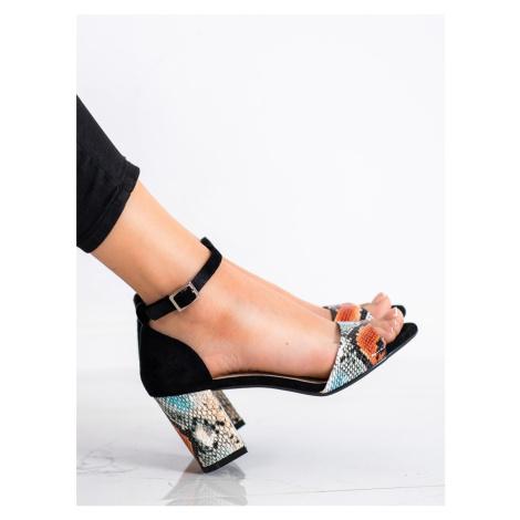 Designové se zvířecím motivem dámské  sandály na širokém podpatku Sergio Leone