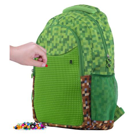 PIXIE CREW Kreativní studentský batoh Minecraft zeleno-hnědý