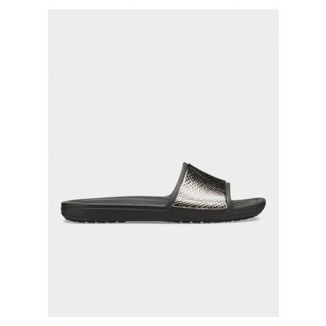 Pantofle Crocs Sloane MetalText Slide W Gunmetal/Black Černá