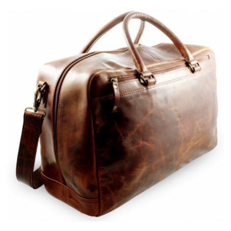 Hnědá cestovní kožená taška Citieln Arwel