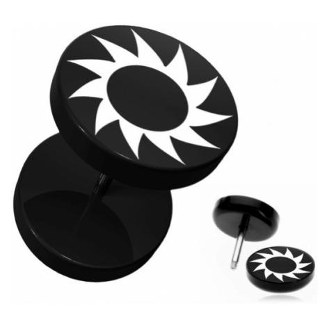 Falešný piercing do ucha z akrylu - černý, kruhový, ozubené kolečko Šperky eshop