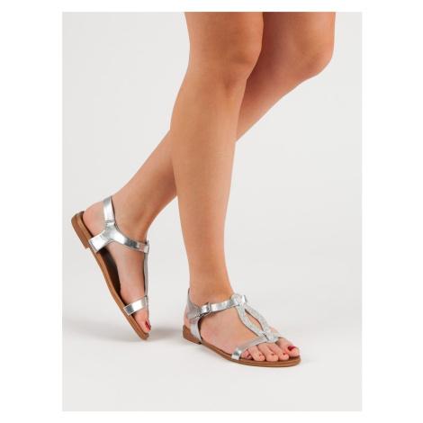 Originální šedo-stříbrné dámské  sandály bez podpatku FILIPPO
