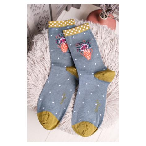 Modro-zelené ponožky Flora Socks Thought