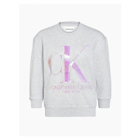 Calvin Klein Calvin Klein dámská šedá mikina s metalickým logem CK IRIDESCENT MONOGRAM CREW NECK