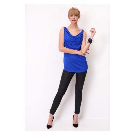 Top/tričko bez rukávů s dekoltem voda barva modrá