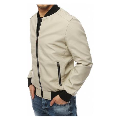 Pánská ecru bunda koženého vzhledu BASIC