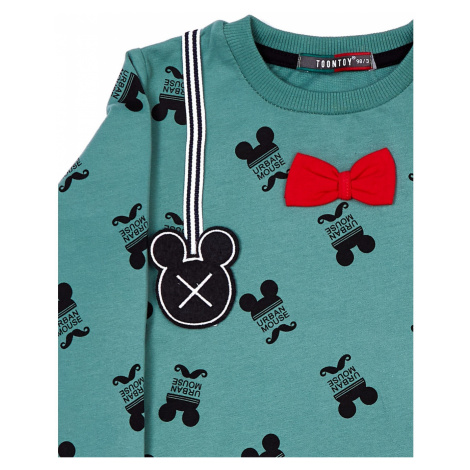 Cotton gray and green children´s blouse with the Mickey Mouse motif