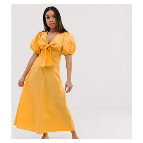 Y.A.S Petite Cotton Volume Sleeve Tie Front Midi Dress-Yellow