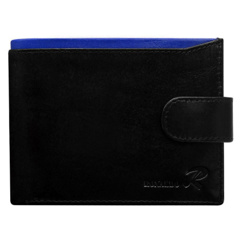 Men´s black leather wallet with a clasp and a blue insert Fashionhunters