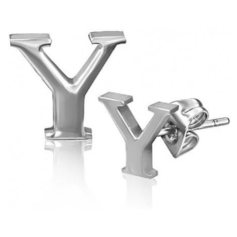 Puzetové náušnice z oceli - lesklé písmeno Y Šperky eshop