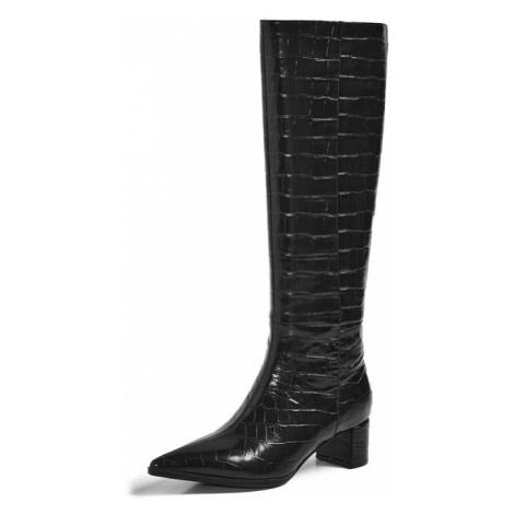 Kožené kozačky dámské elegantní vysoké boty na podpatku