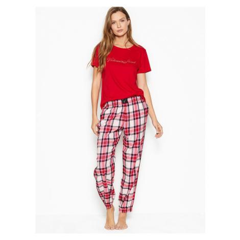 Victorias Secret pohodlné pyžamo Cotton & Flannel Long PJ Set Victoria's Secret
