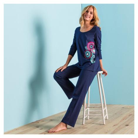 Blancheporte Pyžamo s potiskem rozet, bavlna nám.modrá