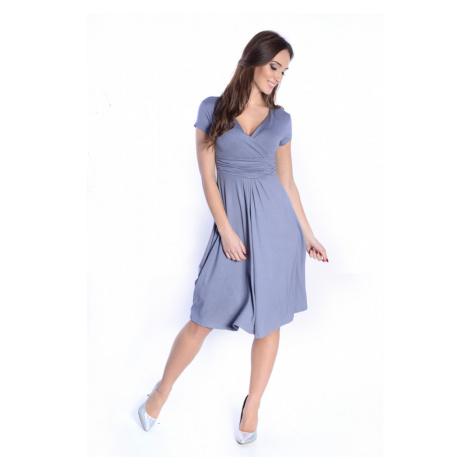 Delší vycházkové šaty s krátkým rukávem barva šedá Oxyd