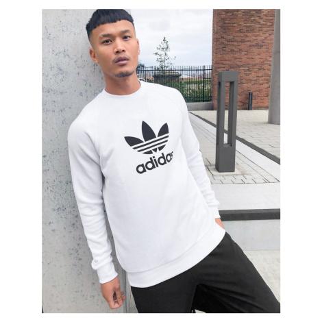 Adidas Originals large trefoil sweatshirt in white