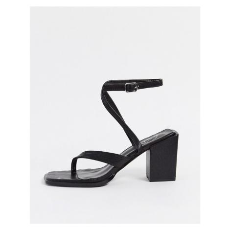 Missguided crossover toe post mid heel sandal in black