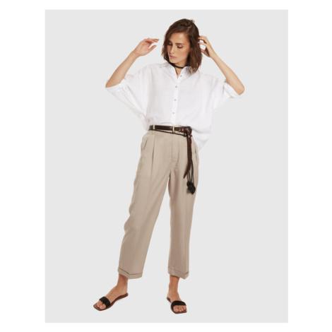 Kalhoty La Martina Woman Trouser Tencel - Hnědá
