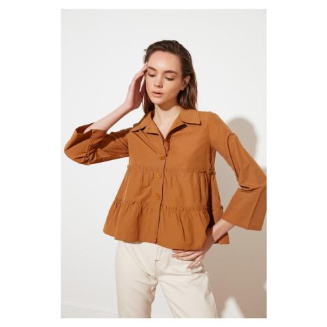 Trendyol Camel Ruffle Shirt