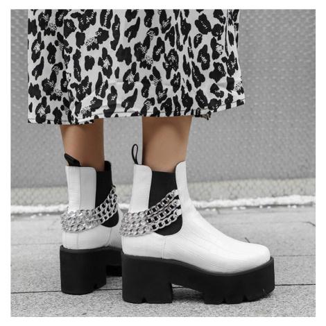 Černé a bílé kotníkové boty kožené na platformě s masivním řetízkem