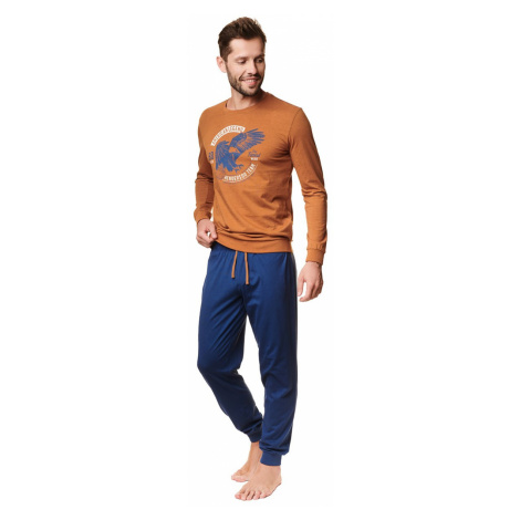 Pánské hnědo-modré dlouhé pyžamo Atlas Henderson
