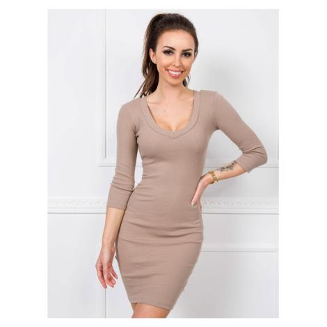 RUE PARIS Dark beige ribbed dress Fashionhunters