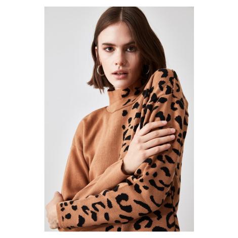 Trendyol Camel Jacquard Knitwear Sweater