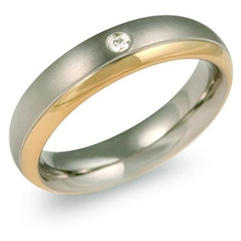 Boccia Titanium Pozlacený titanový snubní prsten s diamantem 0130-12