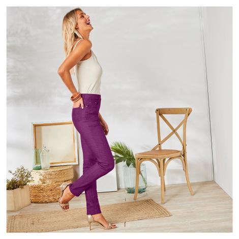 Blancheporte Strečové kalhoty purpurová