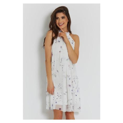 Dámské vzdušné šaty v bílé barvě s květinovým potiskem 281 IVON