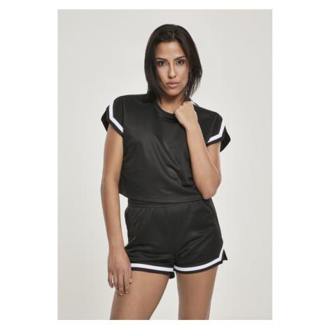 Ladies Short Extended Shoulder Stripes Mesh Tee Urban Classics