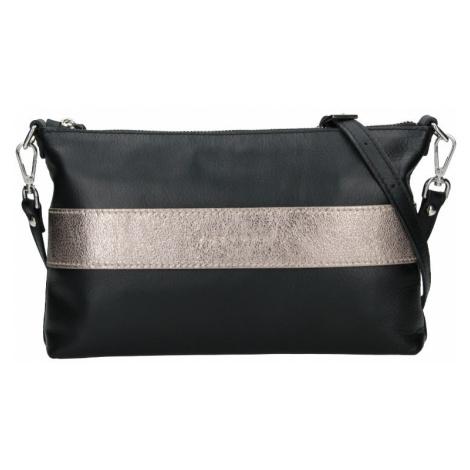 Dámská kožená kabelka Facebag Elesn - černo-zlatá