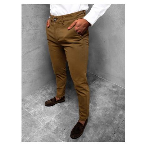 Ozonee Elegantní chinos kalhoty v hnědé barvě JB/JP1143/15