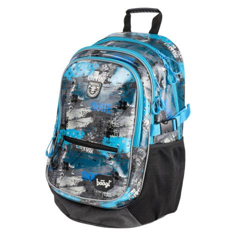 Šedomodrý zipový voděodolný školní batoh Larue Baagl