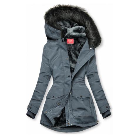 Šedá bunda zateplena plyšem Butikovo