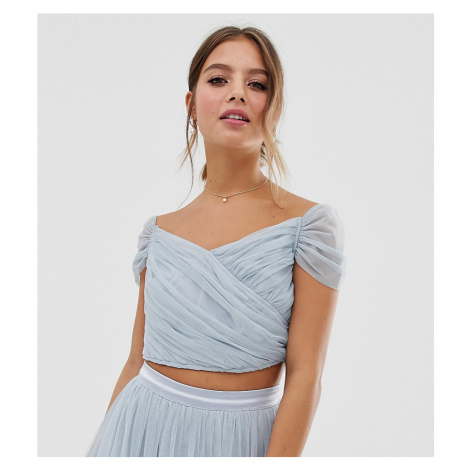 Anaya With Love tulle off shoulder crop top co-ord in blue
