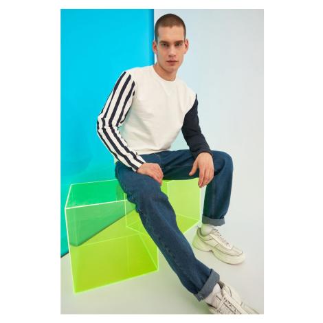 Trendyol White Male Regular Fit Color Block Sweatshirt
